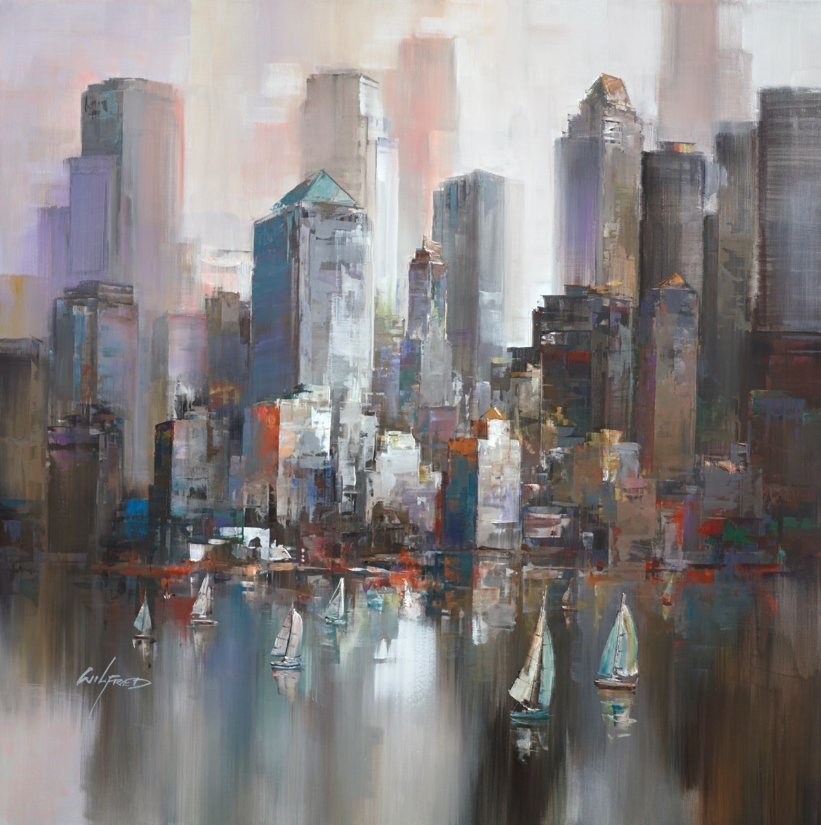 Looking across the city IV by Wilfred -  sized 38x38 inches. Available from Whitewall Galleries